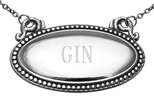 Gin Liquor Decanter Label/Tag - Oval beaded Border...
