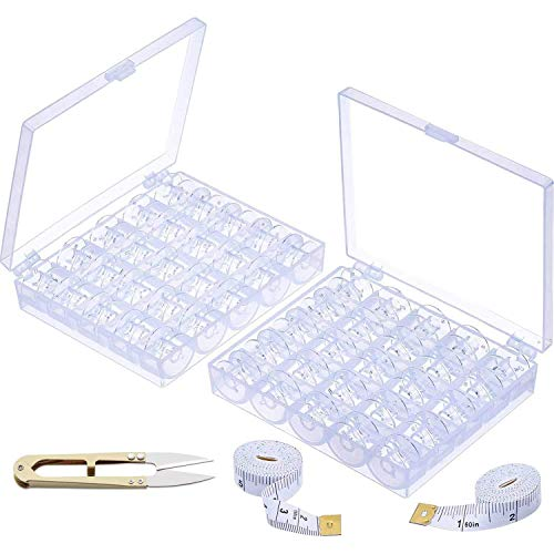 BITEFU 72 bobinas de máquina de coser vacías de plástico transparente para Brother/Pfaff/W6, etc., con caja de bobinas, cinta métrica y tijeras (2 cajas)