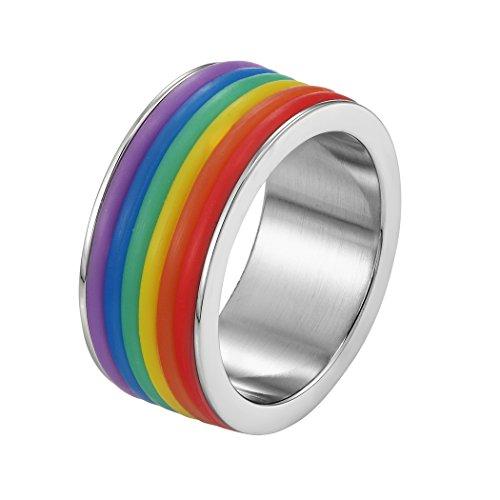PROSTEEL Anello LGBT Arcobaleno Rainbow, 9 mm Largo, Acciaio Inossidabile, Orgoglio Pride Parade Gay Lesbica Transgender, Regalo Natale (Confezione) Misura IT 17