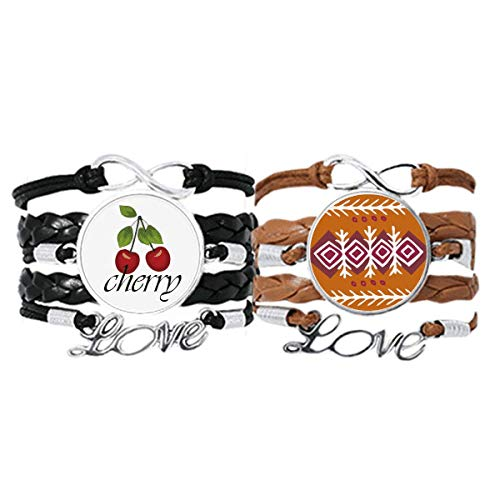 Bestchong Brown Dart Mexico Totems Antike Zivilisation Armband Handschlaufe Leder Seil Cherry Love Armband Doppelset