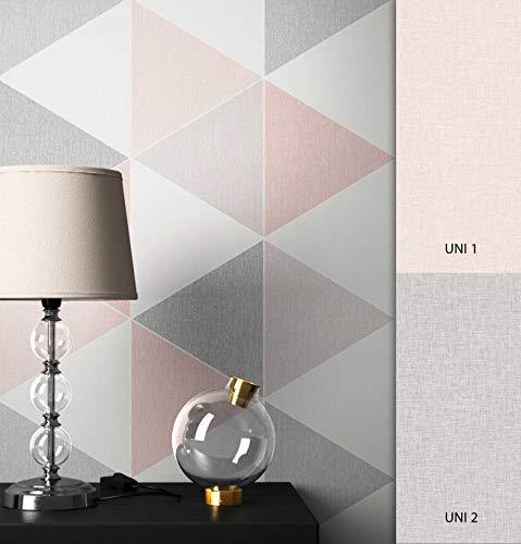 NEWROOM Tapete grafisch rosa Dreiecke Retro Papiertapete grau Papier Tapete Geometrisch inkl. Tapezier Ratgeber ǀ Grafik