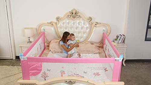 Safe-O-Kid Combo of Safest Extra Thick, ABS Material 300 D Fit-All Extra Large Premium 8 Adjustable Points Full Bed Size Bedrail with 4 Injury Protection Corners (Pink, 6 ft/1.8 m)