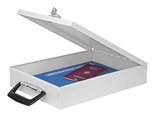Wedo 1021537 Dokumenten Kassette A4, 35,5 x 26 x 6,7 cm, Sicherheitsschloss, 2 Schlüssel, Koffergriff, anschraubbar, Stahlblech, lichtgrau