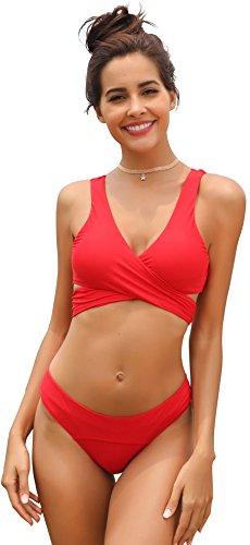 SHEKINI Damen Einzigartig Bikini Set Monochrom Geteilter Badeanzug Mit Quer Brustgurt Weste Bikini Oberteil Und Elastische Triangel-Badehose Solarium Anzug (S, Rot)