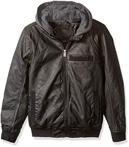 Urban Republic Mens Faux Leather Jacket, Black, XL