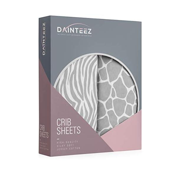Dainteez Crib Sheet Set | Toddler Sheet Set 2 Pack 100% Jersey Cotton Gray and White Safari and Stripes