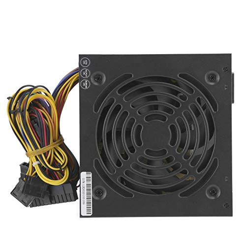 Hyuduo1 Fuente de alimentación para PC, Fuente de alimentación para computadora de Escritorio ATX-250W Fuente de alimentación Ajustable de 115/230 V(Negro)