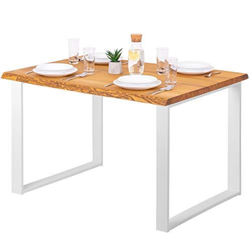 LAMO Manufaktur Esstisch Schreibtisch Baumkante 120x80x76 cm (LxBxH), Massivholz/Modern, Esche Rustikal/Weiß, LEB-01-A-003-9016M