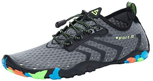 SAGUARO Escarpines Zapatos de Agua Calzado Playa Zapatillas Deportes Acuáticos para Buceo Snorkel Surf Natación Piscina Vela Mares Rocas Río para Hombre Mujer (Gris,43 EU)