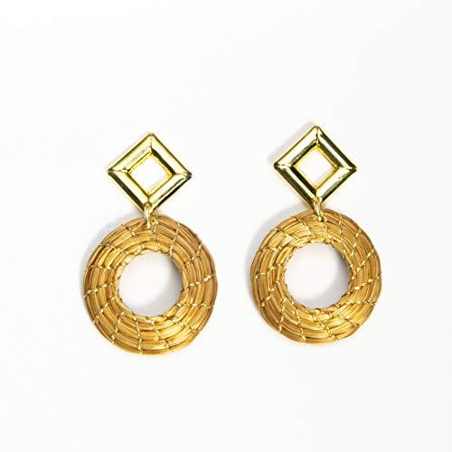 Pendientes en Oro Vegetal Mandala abierta 2 cm