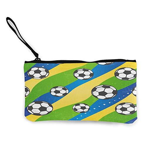 Moneda de lona, bolso de fútbol, con cremallera, bolsa de cosméticos de viaje, multifunción, bolsa de maquillaje, bolsa de teléfono móvil, paquete de lápices con asa