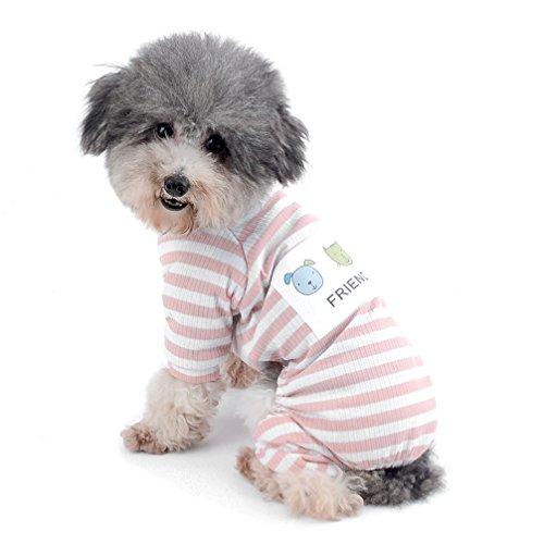 Ranphy Schlafanzug für kleine Hunde, gestreift, für den Winter, Bequeme Baumwolle, Haustierkleidung, Welpenkleidung, Katzenbekleidung, Doggy Pyjama, PJS-Hemd, Yorkie-Overall für Sommer Herbst