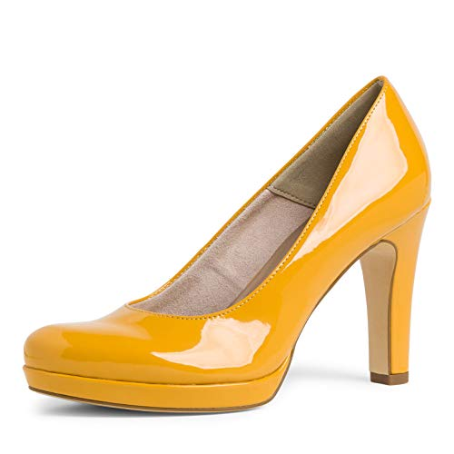 Tamaris Damen Pumps, Frauen Plateaupumps, Fashion weiblich feminin Business geschäftsreise geschäftlich büro modisch,Saffron PATENT,37 EU / 4 UK