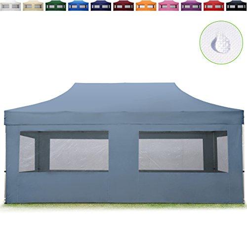 TOOLPORT Faltpavillon Faltzelt 3x6m - 4 Seitenteile ALU Pavillon Partyzelt dunkelgrau Dach 100% WASSERDICHT