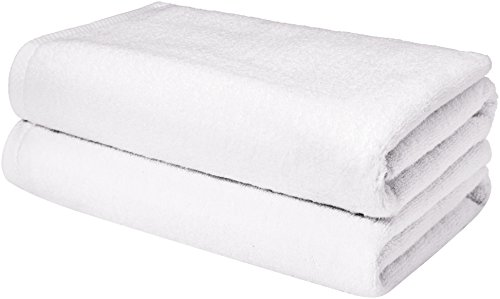 AmazonBasics Quick-Dry, Luxurious, Soft, 100% Cotton Towels, White - Set of 2 Bath Sheets