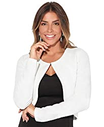 """Ladies elegant cropped shrug for work, evenings, parties, weddings and all special occasions. Crew neckline, Long sleeve, Shaped hem, Bolero Style. Medium bubble knit, Single hook & eye fastening. Length from shoulder: 17""""/43cm Model wears: UK 6/8; M..."""