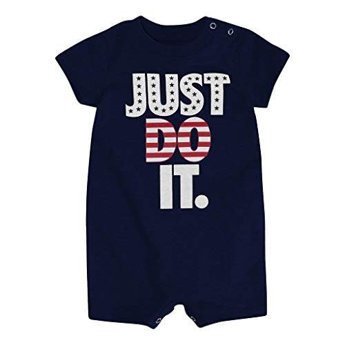 Nike Baby Boy Just Do It Logo Romper (Americana Patriotic Red White Blue, Newborn)
