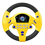 ACEHE Portable Simulated Driving Steering Wheel Copilot Toy, Simulated Driving Controller, Children's Educational Sounding Toy, Small Steering Wheel Toy Gift (Yellow&Black)