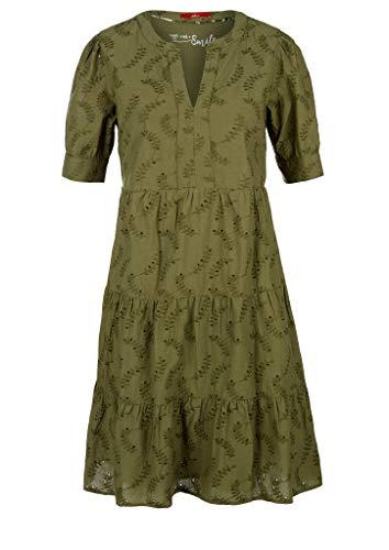 s.Oliver Damen Stufenkleid mit Lochstickerei Summer Khaki Embro 40