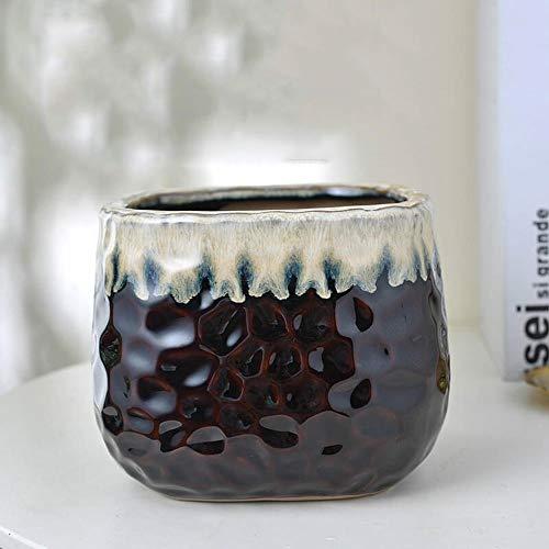 XHZJ Vintage européen rétro Vintage Pot de Fleur en céramique succulente Water Pot créatif modèle d'eau créatif carré Noir et Blanc Plancher Pot de Fleur , Tigre Extra-Large Piran Radis Vert