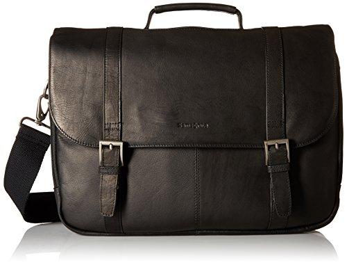 Samsonite Colombian Leather Flap-Over Messenger Bag, Black, One Size