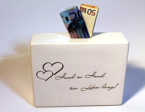 Casablanca - Spardose - Promise - Hand in Hand EIN Leben Lang - Geldgeschenk, Hochzeitsgeschenk - Höhe: 14 cm