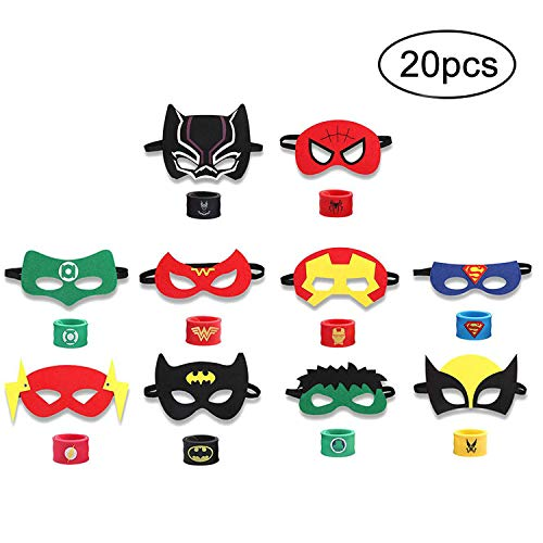 INTVN 20PCS Superheld Party Masken und Superheld Slap Armband für Kinder Baby - The Avengers & Justice League Superhelden Birthday Party Supplies Gefälligkeiten Kinder / Kinder / Erwachsene