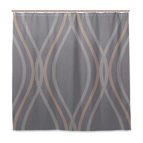 Cortina de ducha Contour Geo Wave Slate tela de poliéster con lavable resistente para baño con 12 ganchos 72 x 72 pulgadas