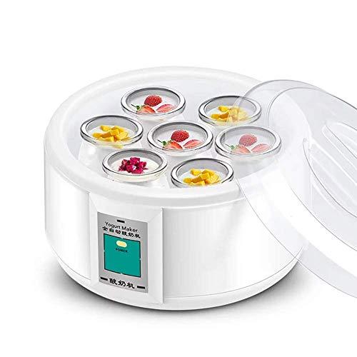 Gpzj Automatischer digitaler Joghurthersteller aus Edelstahl mit 7 BPA-freien Gläsern und Deckeln, Anzeige und Design für Zeit- und Temperaturregelung für den Heimgebrauch