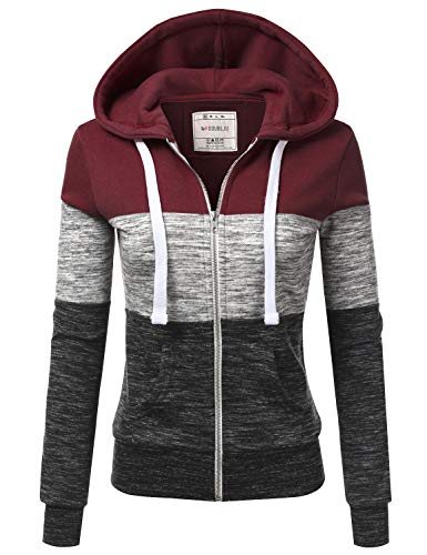 Doublju Lightweight Thin Zip-Up Hoodie Jacket for Women with Plus Size Burgundy 3X