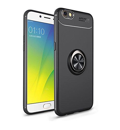 Jardire Kompatibel Oppo F3 Plus Hülle Schwarz, hergeben (2 Stück) 3D HD Panzerglas Schutzfolie, ständer für Handy Smartphone, Ultraleichte TPU-Autohalterung mit unsichtbarem Magnetring