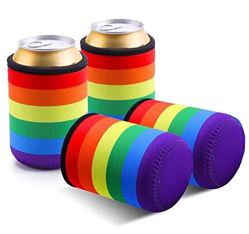 Ingjie Dosenkühler 4 X Packung Regenbogen Farbe Bier Soda Flaschenkühler für 0.33L Dosen,aus Neopren,Regenbogenfarbe