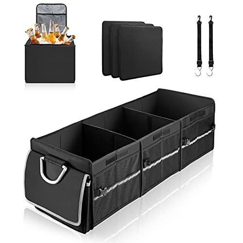Switory kofferraumtasche Auto - wasserdicht und zusammenklappbar, inkl. gut isolierter Kühltasche, Aufbewahrungstasche für Auto, LKW, SUV (3 Fächer, 1 Kühltasche, Schwarz)