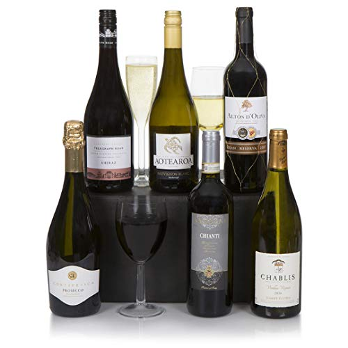 Wine Gift Hamper - Connoisseur Six Bottle Wine Selection - Finest Prosecco & Superior Wines Gift Box