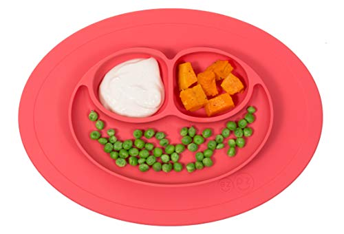 ezpz Mini Mat (Coral) - 100% Silicone Suction Plate with Built-in Placemat for Infants + Toddlers -...