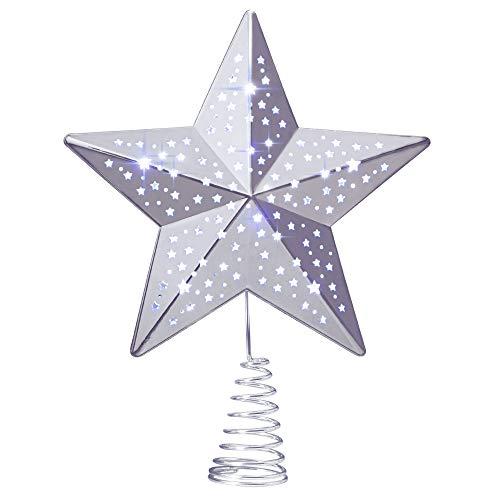 KPCB Weihnachtsbaum Stern,Christbaumspitze Stern Tannenbaum Spitze Mehrfarben LED für Feiertags-Dekorationen