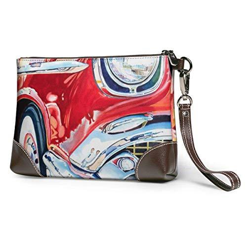 JHGFG Retro Vintage Drive Car Leather Hand Bag 3D HD Printed,Makeup Bag Handbag Purse Wristlet Wallet Clutch Phone Purse Money Pouch Wristlet Clutch Bag Women Girls