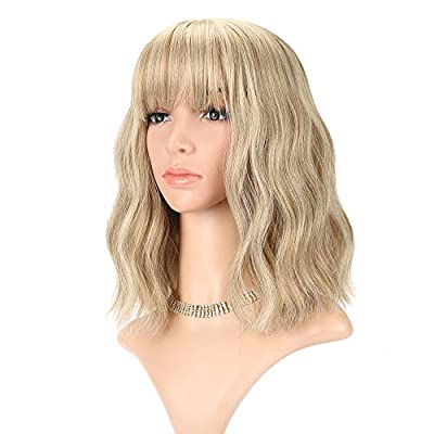 Short Bob Wigs With Air Bangs Shoulder Length Women's Short Wig Curly Wavy Synthetic Cosplay Wig Pastel Bob Wig for Girl Costume Wigs