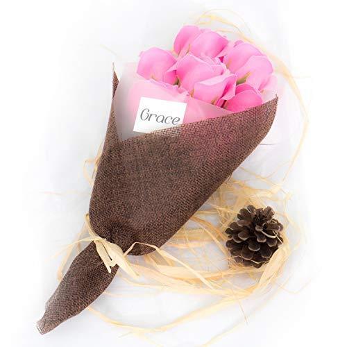 Grace フラワーソープ ずっと香りが楽しめる 枯れない フレグランスフラワー 大切な人へのプレゼント お祝い 誕生日 母の日 記念日 感謝を届ける オシャレ 可愛い 花 (7本, ピンク)