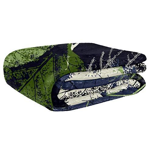 AIBILI Manta de tamaño – para todas las estaciones, ligera y afelpada hipoalergénica – mantas de microfibra para cama, sofá o viaje (152 x 203 cm) estampado de hojas