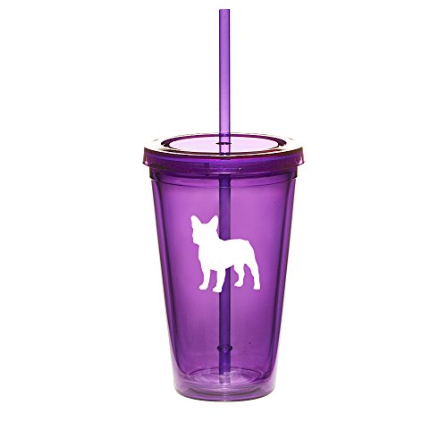 16oz Double Wall Acrylic Tumbler Cup With Straw French Bulldog (Purple)
