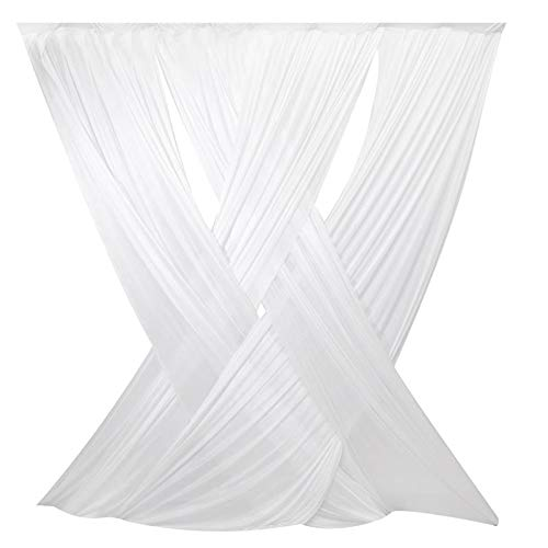 LOVWY White 10 x 10 ft Criss Cross ICE Silk Sheer Voile Drape Panels with Rod Pockets for Wedding Background, Photography Backdrop