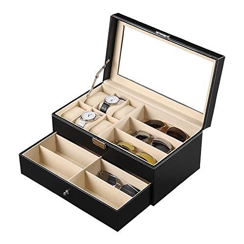 Cokritsm Caja organizadora de gafas de sol con 9 ranuras 6 ranuras Caja para relojes con pantalla de cristal transparente de cuero de PU para mujeres y hombres Organizador de estuche con cerradura