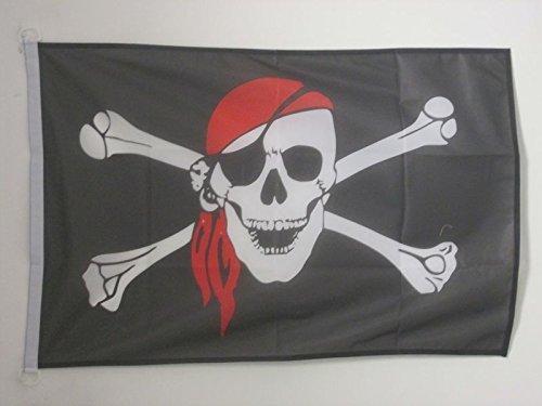 AZ FLAG Bandera Nautica Pirata con Bandana Rojo 45x30cm - Pabellón de conveniencia con Calavera 30 x 45 cm Anillos