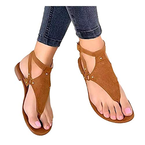Mallocat Sandals for Women Flat, Women's Clip Toe Buckle Strap Flip Flops Sandals Casual Shoes for Summer Beach Holiday Brown