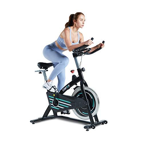 LONTEK YD-X8 Spin Bike con Volano Silenzioso da 13Kg, Resistenza 0-100% Regolabile, Cyclette Spinning con Cardiofrequenzimetro, Schermo LCD, Sella e Manubrio Regolabili - Peso Massimo 125Kg