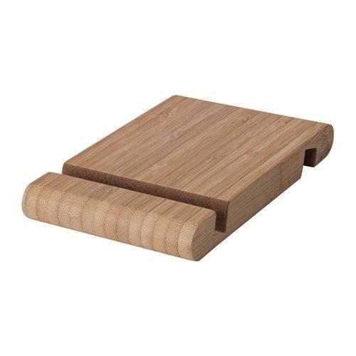 I K E A Massivholz-Halter für Mobiltelefon/Tablet BERGENES Tablethalter Smartphonehalter aus Bambus - mit Filz ausgeschlagen - 13x8 cm