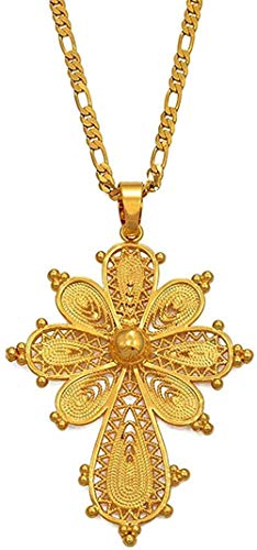 Collar de cadena con colgante de cruz etíope, collares para mujeres y niñas, joyería eritrea de Color dorado, cruces africanas de 45 cm