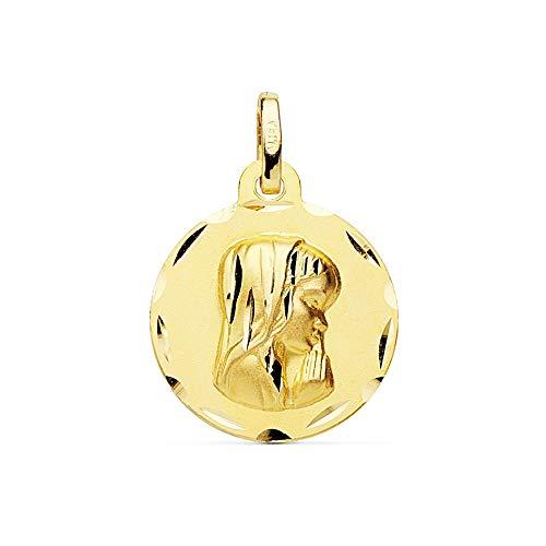 Medalla Oro 18K Virgen Niña 16mm. Bordes Tallados Redonda Lisa - Personalizable - Grabación Incluida En El Precio