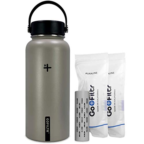 GOFILTR Alkaline Water Bottle Hydration Kit | 32 oz (950ml) Vacuum Insulated Stainless Steel Water Bottle | Wide Mouth + Two Alkaline Ionized Mineral Infusers (Cocoa)
